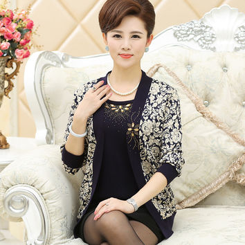 New 2016 middle age women twinset mother clothing set sweater female cardigan fashion sweater women outerwear set