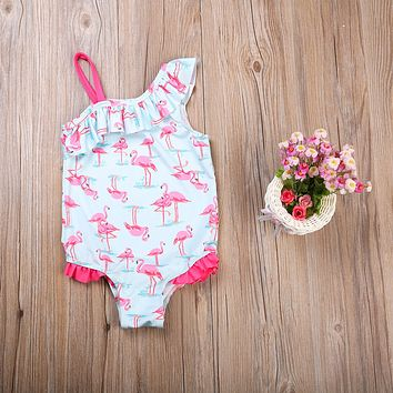 Kids Girls Fancy Flamingo Swimsuit - Toddler 1 pc Suit
