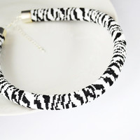 Jewelry, Necklaces, Beadwork, Necklace, bead crochet rope - zebra necklace