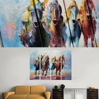 Animal Horse Race Jockey Painting On Canvas Fine Art Size 47 x 35 Inch 008