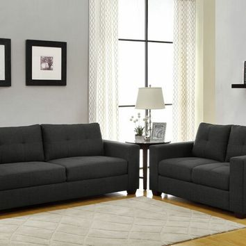 2 pc Ashmont collection dark grey fabric upholstered sofa and love seat set with square arms