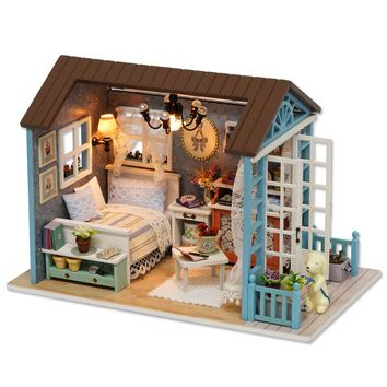 Handmade Doll House Furniture Miniatura Diy Doll Houses Miniature Dollhouse Wooden Toys For Children Grownups Birthday Gift Z07