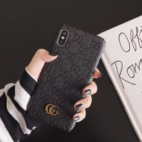 2019 GG MONOGRAM EMBOSS CASE - BLACK