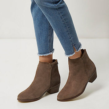Brown perforated suede ankle boots - Boots - Shoes & Boots - women