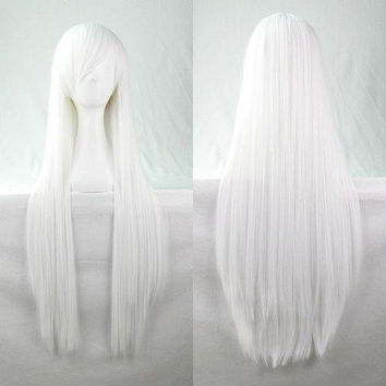 80CM Charming Glossy Side Bang Long Straight Heat Resistant Fibre Versatile Cosplay Wig
