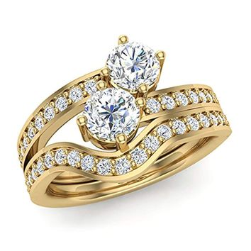 CERTIFIED 0.99 ct tw Two-Stone Diamond Ring Set with wedding band 14K Gold