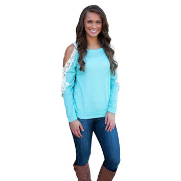 Shoulder Cut-Out Long Sleeve Top with Lace Accent