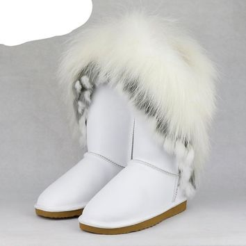 Natural Fox Fur Snow Boots