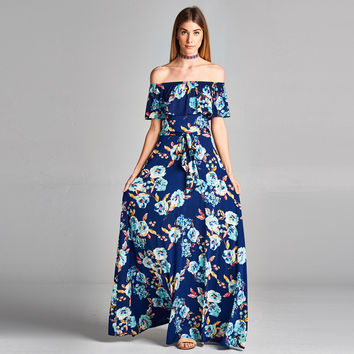 Floral Poppy Cold Shoulder Maxi