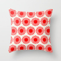Vintage Flowers_Red Throw Pillow by Garima Dhawan | Society6