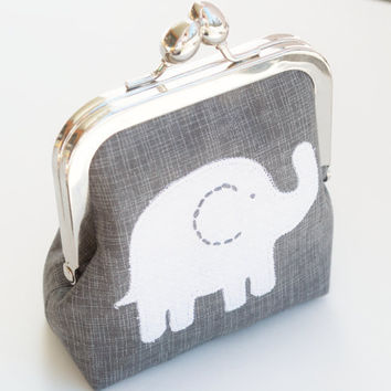 Elephant Coin Purse Makeup Bag Metal Clasp by BrooklynLoveDesigns