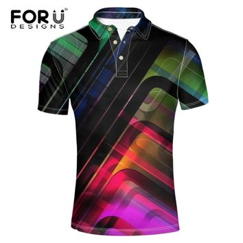 FORUDESIGNS  3d Camisa Polo  Shirt  Plaid Solid Color for Men Sportwear Homme  Clothing  Casual Stand Collar Male Jerseys