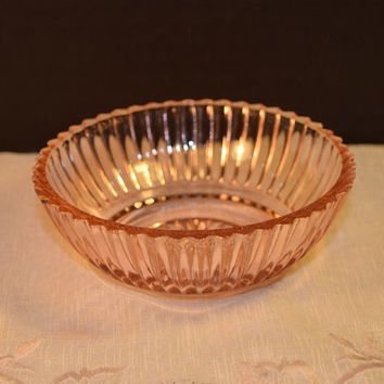 Anchor Hocking Queen Mary Bowl Vintage Pink Depression Glass Fruit Dessert Bowl Open Salt Dish Shabby Chic Glassware Replacement