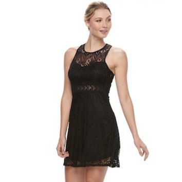 35135452e4 CREY7GX Juniors  Liberty Love Illusion Lace Skater Dress