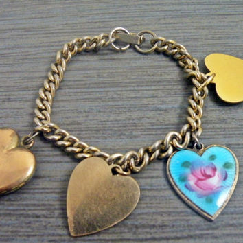 Sarah Coventry Bracelet With Floral Heart Charm