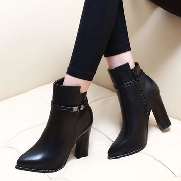 Women 7CM High Heel Pointed Toe Ankle Boots Fashion Side Zipper Dress Boots Short Plush Winter Black Leather Shoes CH-A0000