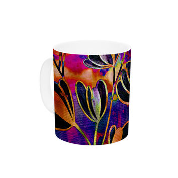 "Ebi Emporium ""Efflorescence - Deep Jewel"" Pink Rainbow Ceramic Coffee Mug"