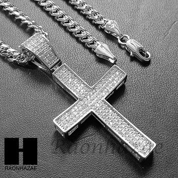 Lab Diamond Rhodium PT Jesus Cross Pendant w/ 4mm Cuban Chain B08S