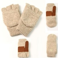 Urban Boundaries Men's Ragwool Convertible Fingerless Glove/Mitten (Available in Sizes S/M or L/XL)