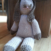 bunny stuffed toy knit for baby / toddler in organic cotton easter baby gift ready to ship