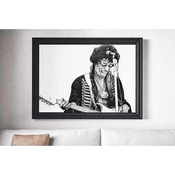 Jimi Hendrix Poster Rock n Roll Art Painting Print Canvas Print Music Poster Canvas Poster Design Wall Art Home Gift Poster Home Rock Poster