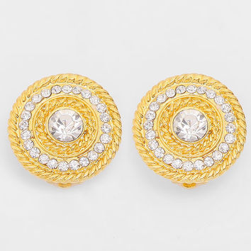 Crystal Accented Round Metal Clip on Earrings