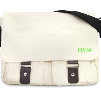 Mato Eco-friendly Organic Canvas Laptop Messenger Cross Body Satchel Bag