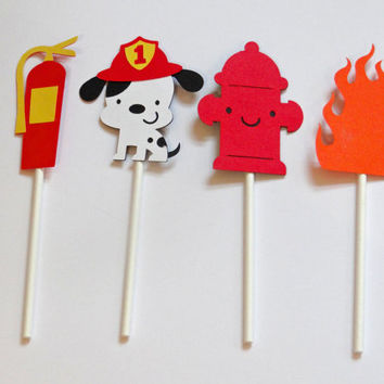 Firefighter Theme Cupcake Toppers, Birthday, Baby Shower, Party