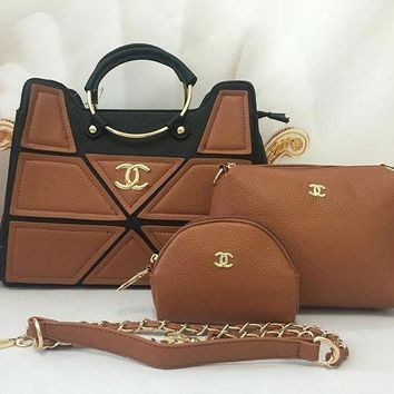 DCCKJ1A Chanel Stylish Ladies Shopping Leather Handbag Tote Shoulder Bag Clutch Bag Cosmetic Bag Set Three-Piece I