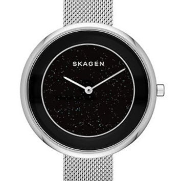 Skagen Womens Starry Starry Night Gitte Dress Watch - Black Dial - Steel Mesh