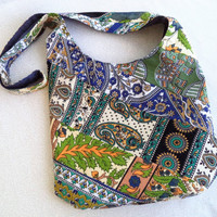Bohemian sling bag made from India tapestry scraps/ Handmade One of a Kind hobo bag/ boho hippie elephant bag