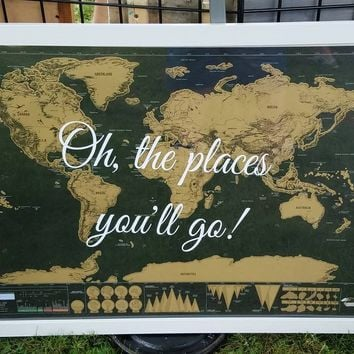 24x36 inch World Scratch off map with famous quote / Black and Gold / Wedding Gift / Graduation Gift /Christmas Gift