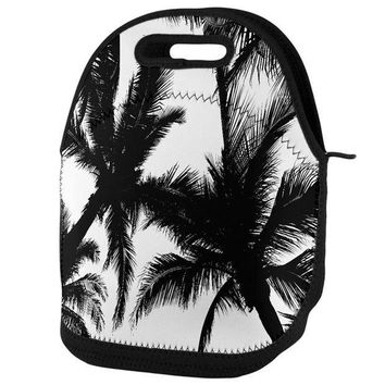 PEAPGQ9 Black And White Palm Tree Silhouette Lunch Tote Bag