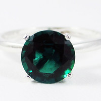 Large Emerald Solitaire Sterling Silver Ring