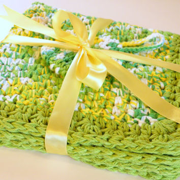 Crocheted Kitchen Rug, Cotton Bath Mat,  Rag Rug inspired Square Floor Rug in Lime Green And Yellow plus GWP