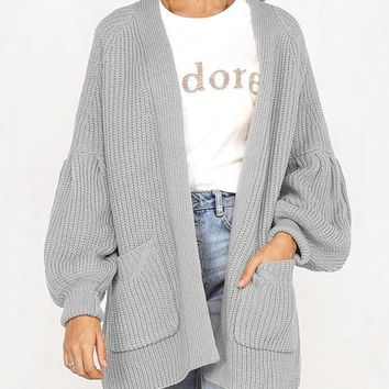 New Grey Pockets No Buttons Balloon Sleeve Casual Cardigan Sweater