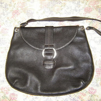 Vintage Cole Haan Large Black Pebbled Leather Black Handbag Bag