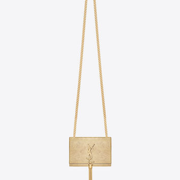 Saint Laurent Classic Small Monogram Saint Laurent Tassel Satchel In Gold Textured Metallic Leather | ysl.com