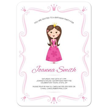 Princess birthday party invitation with pink crowns and elegant, ornate border