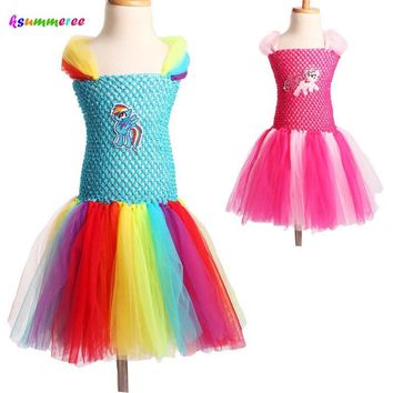 Child Girl Little Horse Tutu Dress Halloween Christmas Birthday Party Dress Rainbow Color Ball Gowns Holiday Girl Costume TS103