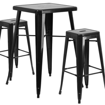23.75'' Square Black Metal Indoor-Outdoor Bar Table Set with 2 Square Seat Backless Barstools