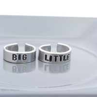 Big Little Ring Set | Sorority Jewelry | Hand Stamped