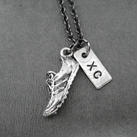 Run XC Cross Country Necklace - Run Shoe plus XC Charm on Gunmetal Chain - Cross Country Team - XC Summer Practice - Xc Team - Cross Country