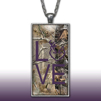 Camo Love Heart Pendant Charm Necklace Deer Head Browning Dark Purple Country Girl Custom Necklace, Silver Plated Jewelry