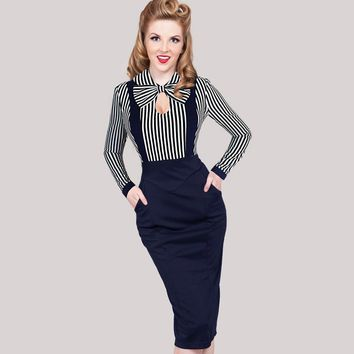Vfemage Women Vintage Keyhole Bow Tie Faux Twinset Contrast Straps Striped Pocket Wear to Work Office Stretch Bodycon Dress 1610