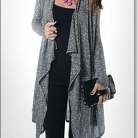 Veronica M Black and White Marled Yarn Fly Away Cardigan