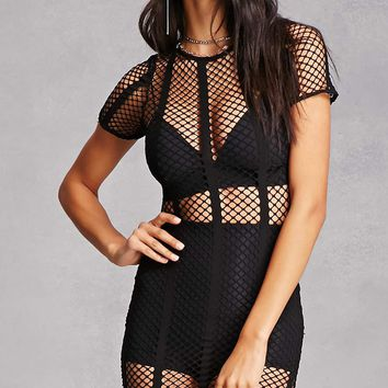 Sheer Striped Mesh Dress