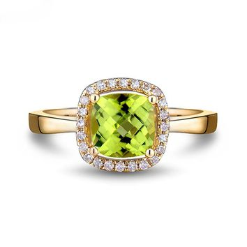 Beautiful Peridot, yellow gold ring, 14k, with natural diamonds, Cushion Cut, Amazing colors.