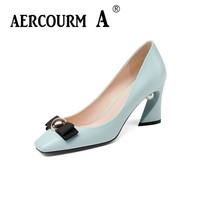 Aercourm A 2018 Women Black Fashion Shoes Female Bright Genuine Leather Shoes Pearl High Heel Pumps Bow Brand New Shoes Z333