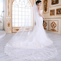 good quality double layer soft new long lace veil bride married wedding cute flower glitter stylish white lace   dress accessories / 2.8m long lace veil for wedding = 1929792580